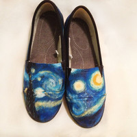 """Hand Painted """"Starry Night"""" Toms Shoes"""