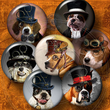 """Steampunk Dogs - 1.313"""" Circles - Printable Digital Collage Sheets for 1"""" Buttons, Magnets, Crafts - CG-609B"""