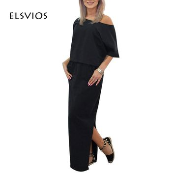 ELSVIOS 2017 Women Sexy Long Maxi Summer Dress Side Slit Loose Dress Short Sleeve Evening Party Dress with Pocket Vestidos