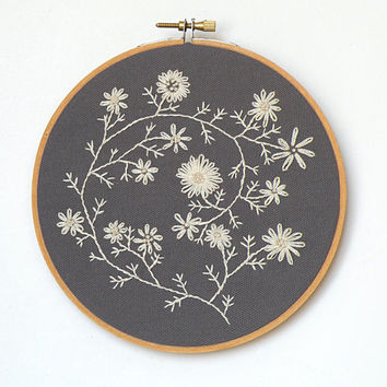 "Ecru cream embroidered flowers - 6"" embroidery hoop"