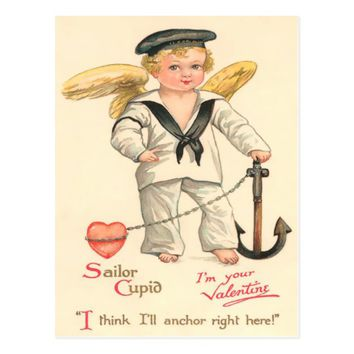 Vintage Sailor Cupid Valentine Postcard