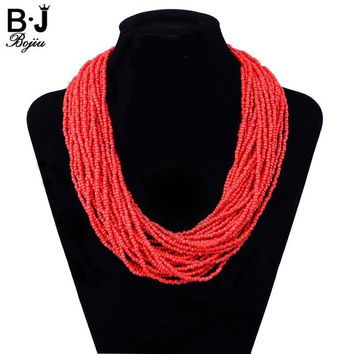 Fashion Jewelry Bohemia Seed Bead Layer Necklace Woman Bead Necklace