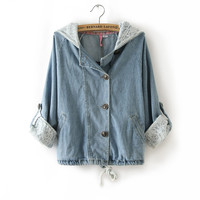 A 091211 -Sleeved Lace Denim Shirt Jacket
