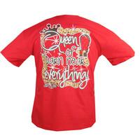 Bjaxx Funny Queen of Everything Crown Red Girlie Bright T Shirt