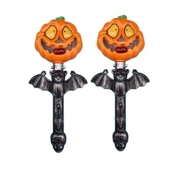 2pcs Halloween Shaking Stick Pumpkin Light Up Luminous Glowing Props Party Supplies Wand Toys Hand Sticks for Party Bar Festival