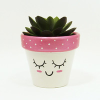 Succulent Planter, Terracotta Pot, Cute Face Planter, Air Plant Holder, Plant Pot, Flower Pot, Indoor Planter, Kawaii Planter, Pink
