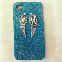 Handmade teal ultra fine glitter with angel wings iphone 4/4s case