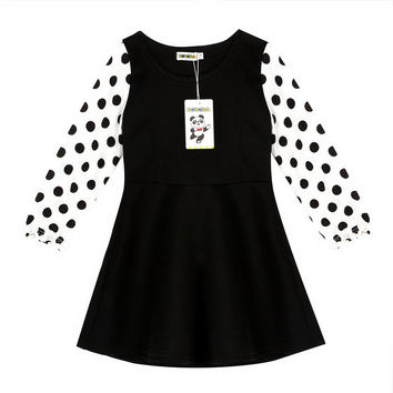 New 2016 Summer Dots Printed Girl Dress Black & White One Piece Kids Girls Clothing For Princess Infant Baby Girls Clothes