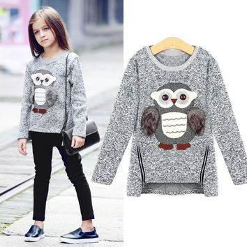 Sweater For Toddler Girl Fleece Sweatshirt Owl Print Tops