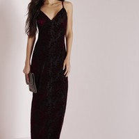 Missguided - Strappy Burn Out Maxi Dress Burgundy