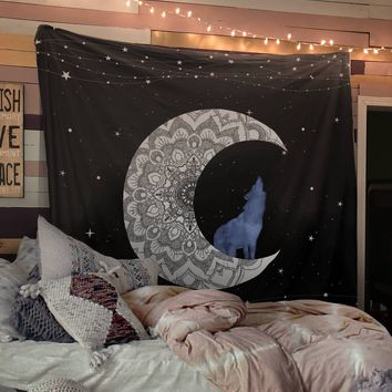 Reiki Charged White Moon Wolf Tapestry Blue Distressed Tapestry Wall Hanging Meditation Yoga Grunge Hippie