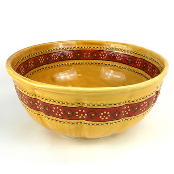 Mexican Ceramic Pottery Large Bowl - Honey - encantada