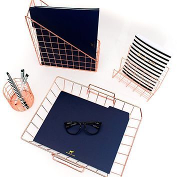 Blu Monaco Rose Gold Desk Organizer - 4 Piece Desk Accessories Set - Letter - Mail Organizer, Paper - Document Tray, Pen Cup, Magazine File Holder - Wire Office Supplies Stationery Decor