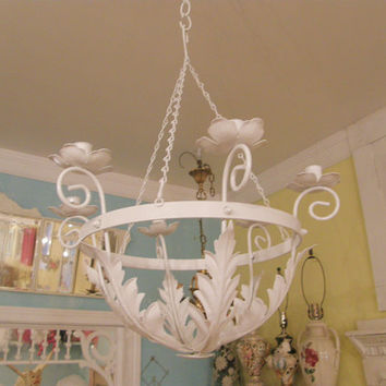 white candle chandelier shabby chic metal by VintageChicFurniture