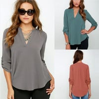V-neck Chiffon Wrinkle Loose Plus Size Blouse