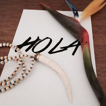 Large Tusk Necklace // Wood beads and African Vinyl Record beads| Perfect necklace for the modern day gypsy.