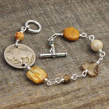 Earthtones bracelet, brown and silver, fossilized coral red creek jasper US buffalo nickel, 7 1/4 inches