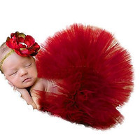 JISEN Photography Prop Newborn Baby Infant Lovely Costume TuTu Dress Flower Headband 0-3 Month (Red)
