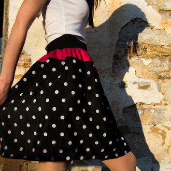 Polka Dot A Line Skirt, Unique Skirt, Fashion Skirt, Women's skirt, Black White and Red