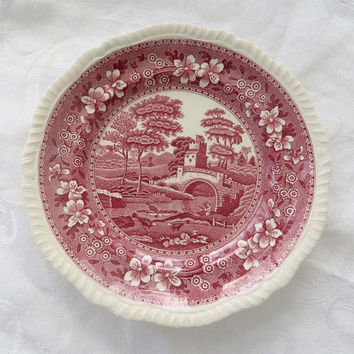 Copeland Spodes Tower Plate, England, Spode Red Transferware, 8 Inch Wall Plate,