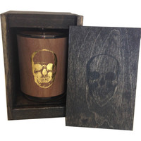 Skull Wood Candle