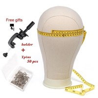 21-25 inch Canvas Head Mannequin Head Wig Making Stand Tool with Stand and Pins