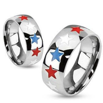 Home of the Brave  - FINAL SALE Patriotic red white and blue enamel stars stainless steel unisex dome band ring