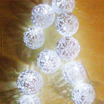 Party Lighting, Holiday Lights, Bedroom Decor lamps, Fairy Lights, String Lights, 20 Lace Crocheted white balls , garland light