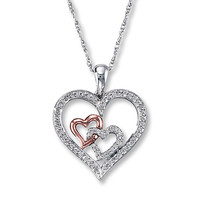 Diamond Heart Necklace 1/4 ct tw Sterling Silver/10K Gold