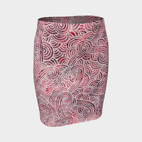 Red and white swirls doodles Fitted Skirt Fitted Skirt