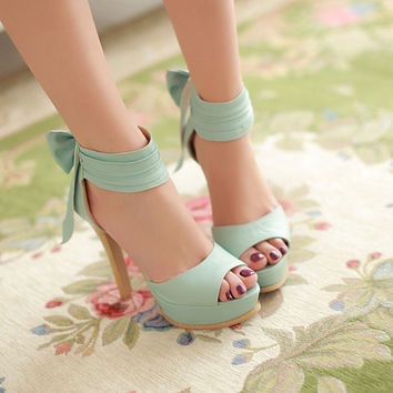 Sunmer Sweet High Heel Ankle Bandage Bow Sandals