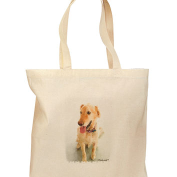 Golden Retriever Watercolor Grocery Tote Bag