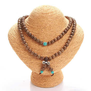 108 Wenge Prayer Beads Buddha Bracelet Wood Necklace with Turquoise Resin Beads Fashion Accessories Jewelry For Men and Women