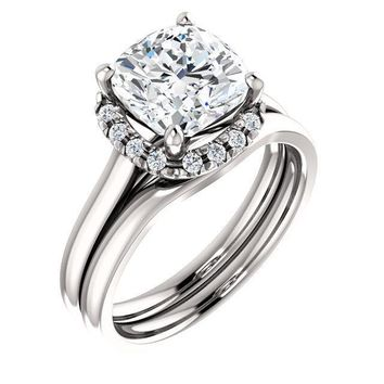 Cushion Moissanite Diamond Accent Ice Halo French-Set Ring