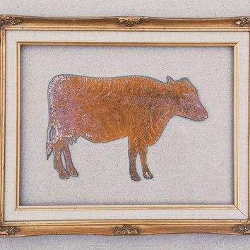 Rusted Metal Cow Wall Plaque