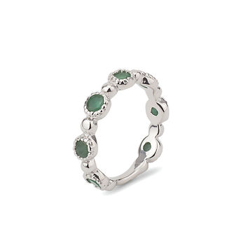 Emerald Green Half Eternity Stackable Sterling Silver 925 Ring