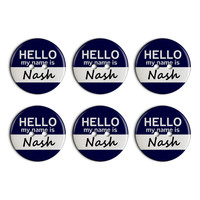 Nash Hello My Name Is Plastic Resin Button Set of 6