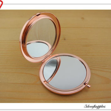 70mm blank Rose gold  compact mirror  Pock compact mirror frame AC91