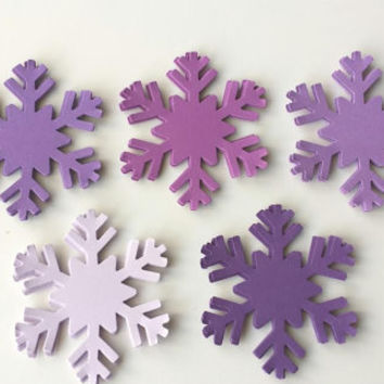 30 Purple Snowflakes, Lavender Snowflake Die Cut, Purple Frozen Birthday, Frozen Party