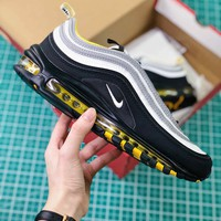 Nike Air Max 97 Black Silver Yellow Sport Running Shoes - Best Online Sale
