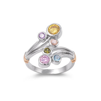 925 Sterling Silver CZ Exotic Flower Multicolor Ring 20MM