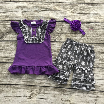 2016 Summer girls outfit purple and gray arrow hot sell baby kids boutique  girls clothing top and shorts matching bow set