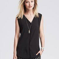 Banana Republic Womens Mixed Media Muscle Tank