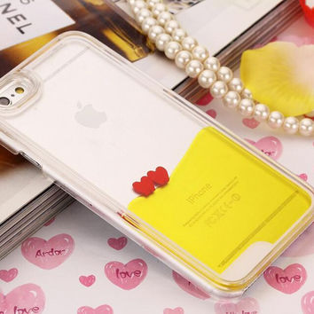 Heart Dynamic Yellow Liquid Glitter Sand Quicksand Star Bling Clear iPhone case Phone Case