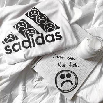 Sadidas White Tee/Top/Tshirt Unisex Tumblr Adidas Inspired Cute New Trendy