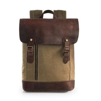 Vintage Canvas Leather Laptop Backpack Rucksack Travel Bags Casual Daypacks - Fits laptop up to 15.6""