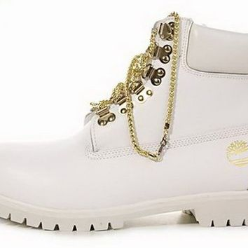 White Chain Timberlands from Luxe Stylez