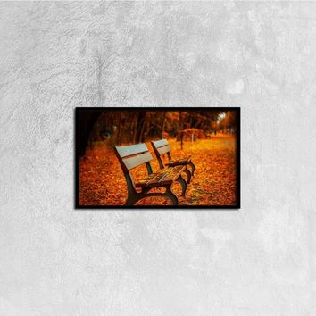 Autumn Bench Canvas Wall Art, 20ⅹ12 inch