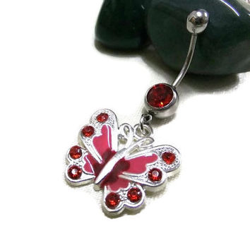 Red Butterfly Navel Ring, Silver & Red Belly Ring, Red Crystal Navel Ring, Butterfly Belly Ring, Boho Belly Ring, Dangle Belly Ring, Hippie