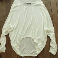 Elegant Long Bat Sleeve Knitted Blouse - OASAP.com